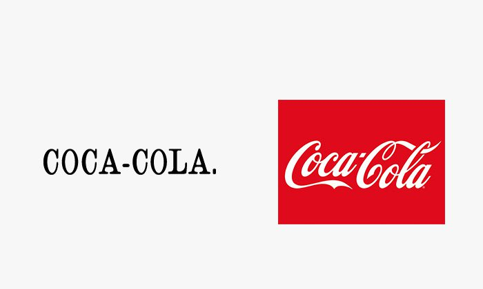 Logo coca cola prima e dopo